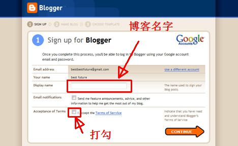 Blogger Sign Up