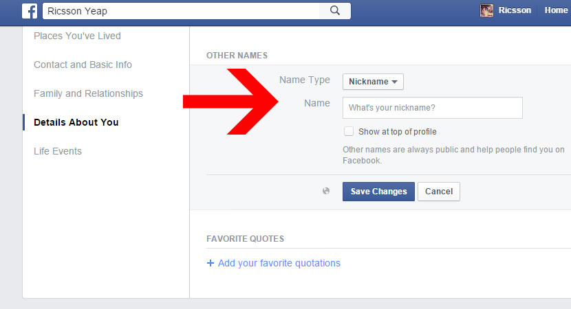 Facebook change name3