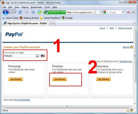 PayPal Register Step 1