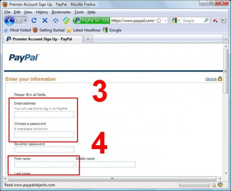 PayPal Register Step 2