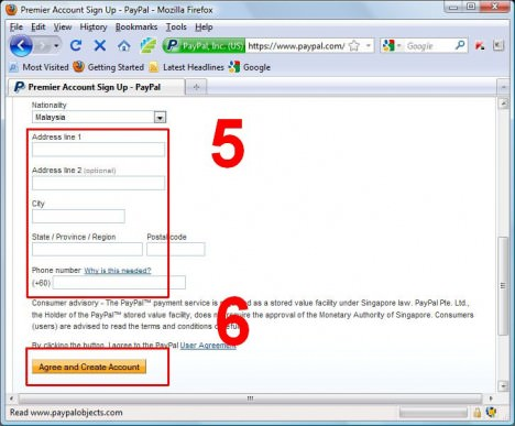 PayPal Register Step 3