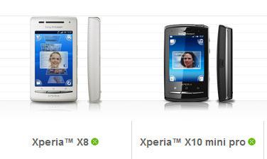 Sony Ericsson Xperia X8 X10 Mini Pro