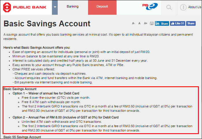 Public Bank Basic Savings Account