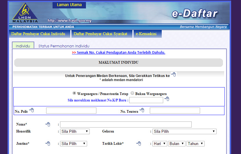 Daftar LHDN maklumat