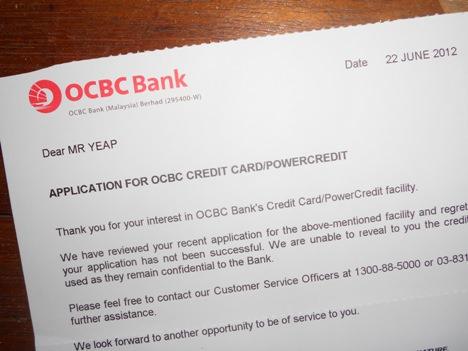 ocbc reject application