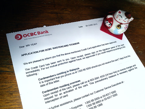 OCBC Titanium Card approval letter