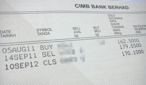 CIMB gold investment passbook