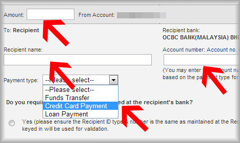 Tutorial : OCBC Credit Card Payment via Maybank2u Online