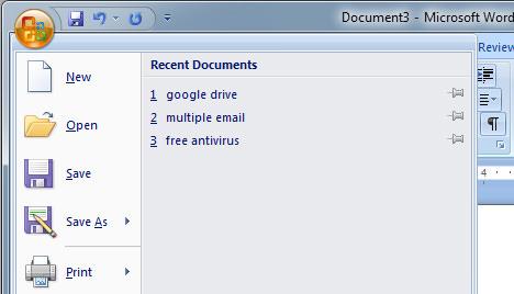 delete recent document