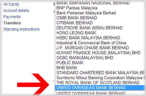 How to use Maybank2u to pay UOB credit card