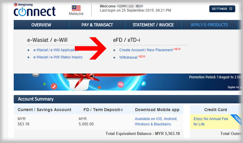 How To Place Efd Online Via Hongleong Connect