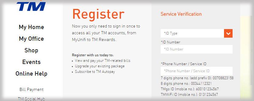 TMOnline Register Step 2