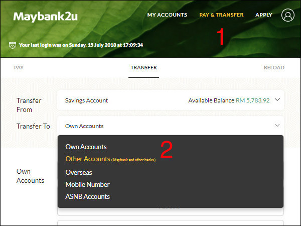 Maybank To Public Bank Step 1 and 2