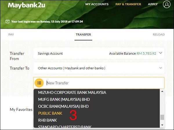 Maybank To Public Bank Step 3