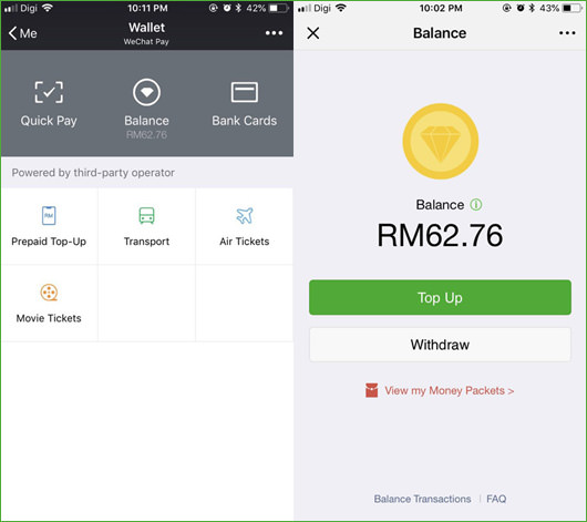WeChat Pay e wallet