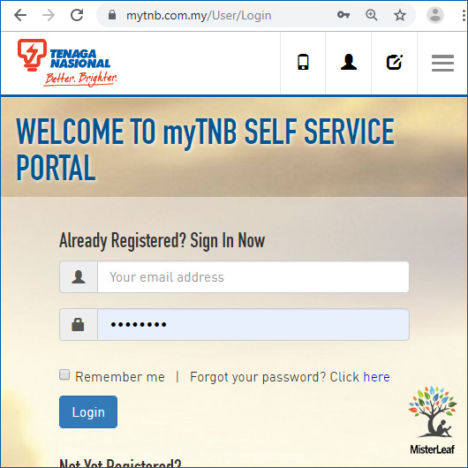 Login myTNB account