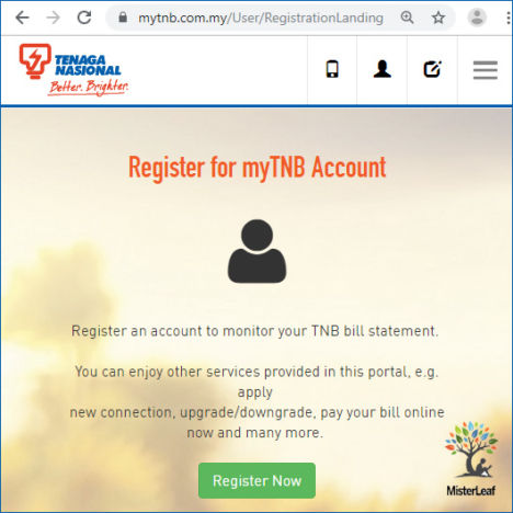 Register myTNB account 01