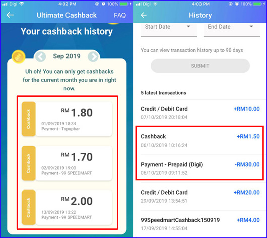 TNG ewallet cash back