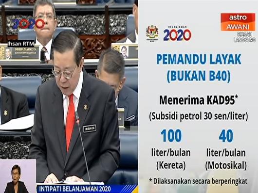 Program Subsidi Petrol BukanB40 Budget2020